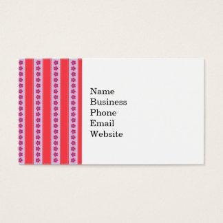 Flores bonitas y rayas rosadas y púrpuras tarjetas de visita