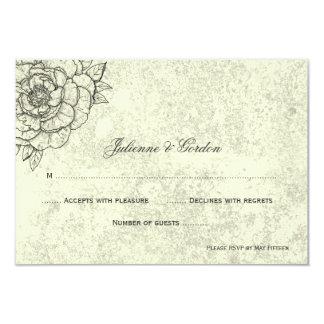 """Flores bosquejadas negras apenadas marfil RSVP Invitación 3.5"""" X 5"""""""