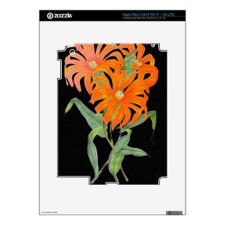 Flores botánicas anaranjadas del vintage iPad 3 pegatina skin