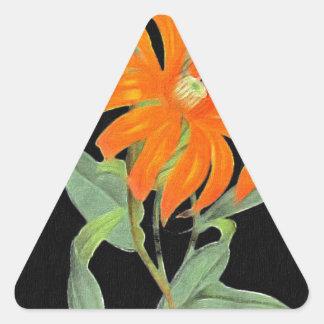 Flores botánicas anaranjadas del vintage pegatina triangular