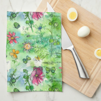 Flores botánicas de la acuarela de la mariposa del toalla de mano