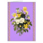 Flores botánicas de las violetas del feliz cumplea felicitación
