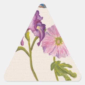 Flores botánicas pegatina triangular