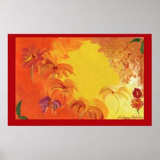 Flores brillantes abstractas #4 Halima Ahkdar Póster