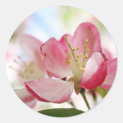 Flores brillantes de Apple de la primavera Pegatinas Redondas