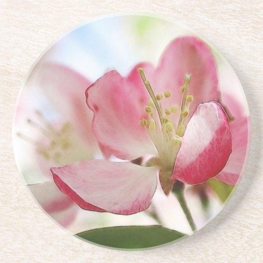 Flores brillantes de Apple de la primavera Posavasos Diseño