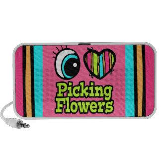 Flores brillantes de la cosecha del amor del coraz altavoz