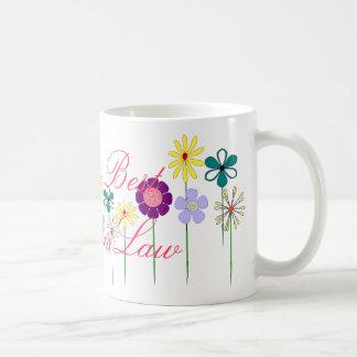 Flores brillantes de la mejor suegra del mundo par taza de café