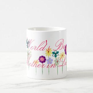 Flores brillantes de la mejor suegra del mundo taza clásica