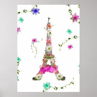 Flores brillantes de la torre Eiffel francesa flor Póster