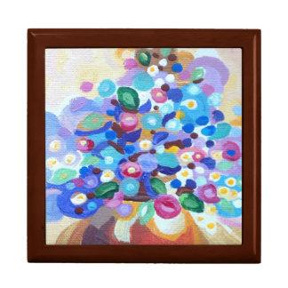 Flores brillantes del arte de la joya hermosa joyero cuadrado grande