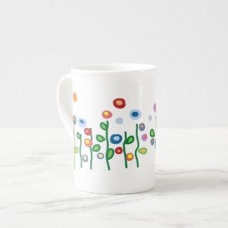 Flores brillantes del arte de la joya hermosa tazas de porcelana