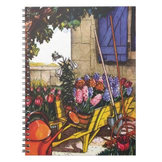 Flores brillantes en el jardín libros de apuntes