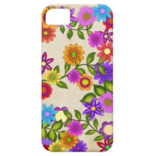 Flores brillantes en la crema iPhone 5 funda