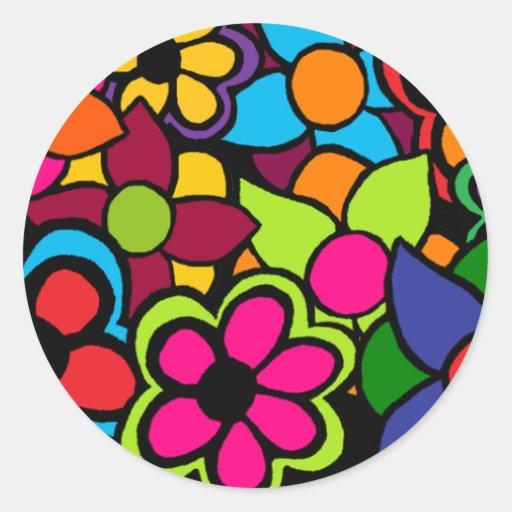 Flores brillantes grandes pegatina redonda