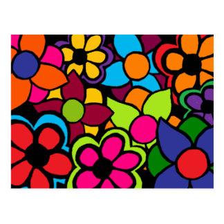 Flores brillantes grandes postal