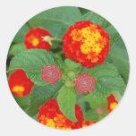 flores brillantes pegatina redonda