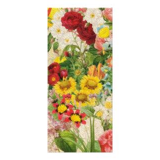 Flores brillantes que pintan el collage tarjeta publicitaria