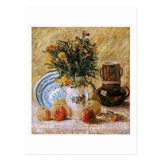 Flores cafetera y bella arte de Van Gogh de la Postales