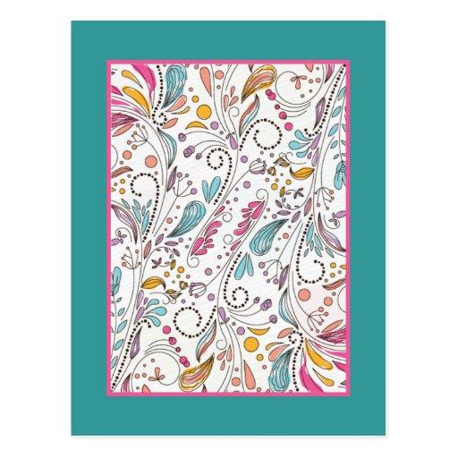 Flores caprichosas de la primavera tarjetas postales