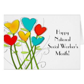 Flores caprichosas del mes del asistente social tarjeta de felicitación