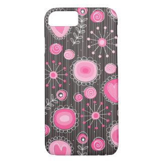 Flores caprichosas en caso rosado del iPhone 7 Funda iPhone 7