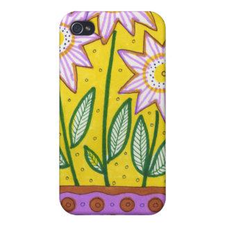 Flores caprichosas en maceta iPhone 4/4S carcasas