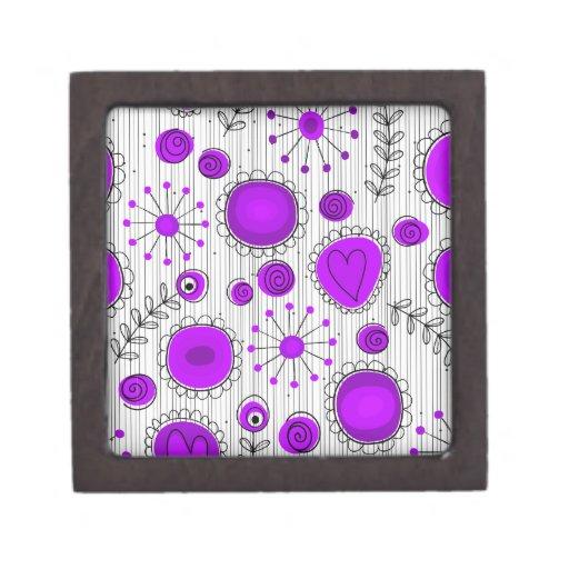Flores caprichosas en púrpura y blanco cajas de regalo de calidad