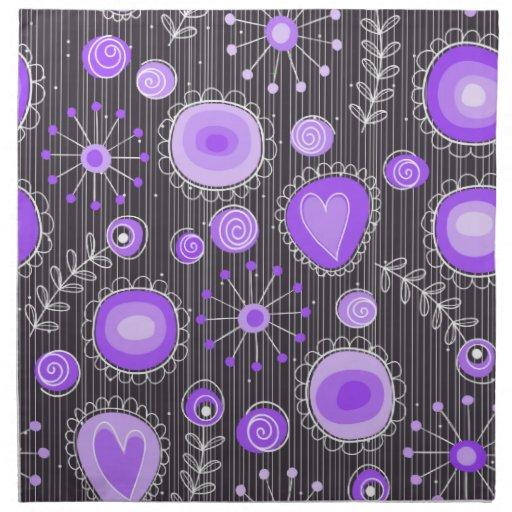 Flores caprichosas en púrpura y gris servilletas de papel