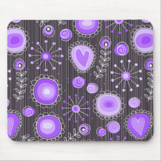 Flores caprichosas en púrpura y gris tapetes de ratón