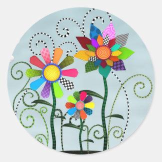 Flores caprichosas pegatinas redondas
