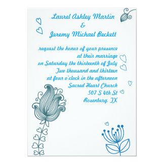 Flores caprichosas que casan la invitación - azul