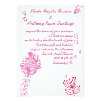 Flores caprichosas que casan la invitación - rosa