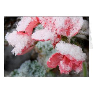 flores caramelo-rosadas del invierno tarjeta de felicitación
