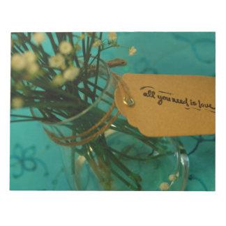 """Flores cariñosas 11"""" x 8,5"""" páginas de la libreta blocs de notas"""