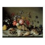 Flores, cáscaras e Insects Balthasar van der Ast Tarjeta Postal