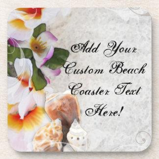 Flores/cáscaras tropicales de la playa posavasos de bebida