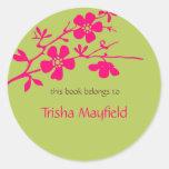 Flores chartreuses y de Fusia, Bookplates Pegatina
