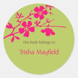Flores chartreuses y de Fusia, Bookplates Pegatina Redonda