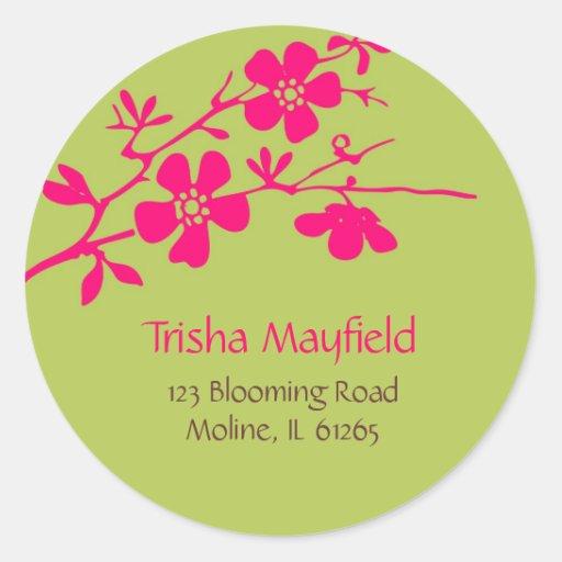 Flores chartreuses y de Fusia, etiquetas de Pegatina Redonda