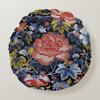 Flores chinas coloridas del bordado cojín redondo