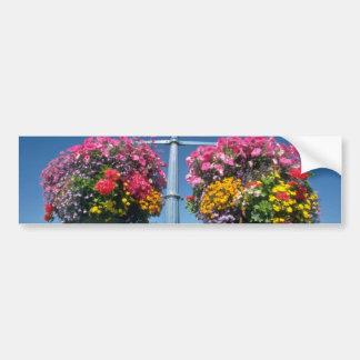 Flores colgantes rosadas, flores de Victoria Etiqueta De Parachoque