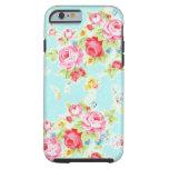 Flores color de rosa azules de los rosas florales funda resistente iPhone 6