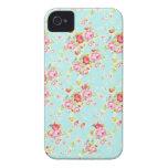 Flores color de rosa elegantes lamentables azules  iPhone 4 Case-Mate cárcasa