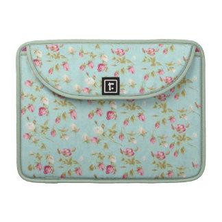 Flores color de rosa elegantes lamentables azules  funda macbook pro