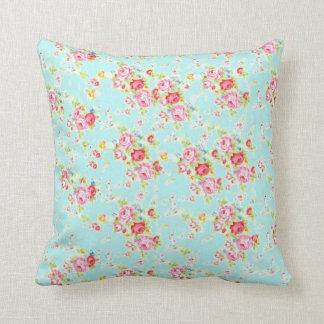 Flores color de rosa lamentables azules de los almohada