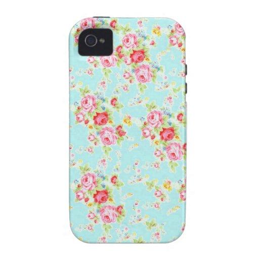 Flores color de rosa lamentables azules de los ros iPhone 4/4S carcasas