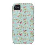 Flores color de rosa lamentables azules de los ros Case-Mate iPhone 4 fundas