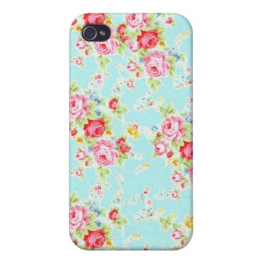 Flores color de rosa lamentables azules de los ros iPhone 4/4S fundas