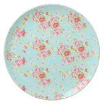 Flores color de rosa lamentables azules de los ros plato de cena